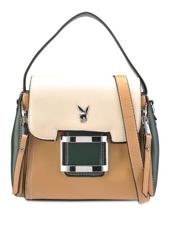 PLAYBOY BUNNY brown Zipper Charm Handbag 691C0AC06BA196GS_1