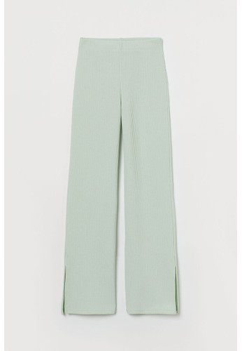H&M green Ribbed flared trousers 2AD87AA213C11CGS_1