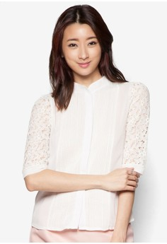 Lace Sleeve Chiffon Shirt With Stitching Detail