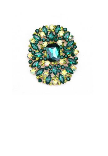 Glamorousky green Elegant and Bright Plated Gold Geometric Pattern Brooch with Green Cubic Zirconia D50C7AC87F8529GS_1