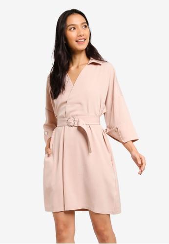 ZALORA beige Overlap Neck Dress 54924AAD215357GS_1