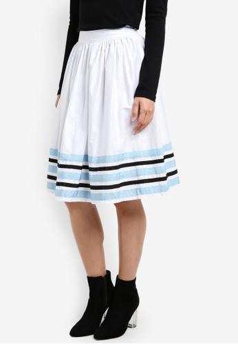 Megane white Camie Colour Block Skirt ME617AA0S0UZMY_1