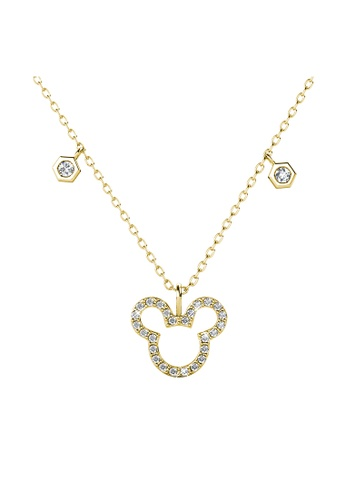 Her Jewellery gold Mickey Pendant (Yellow Gold) - Made with Premium grade crystals from Austria D1321AC0A0D897GS_1