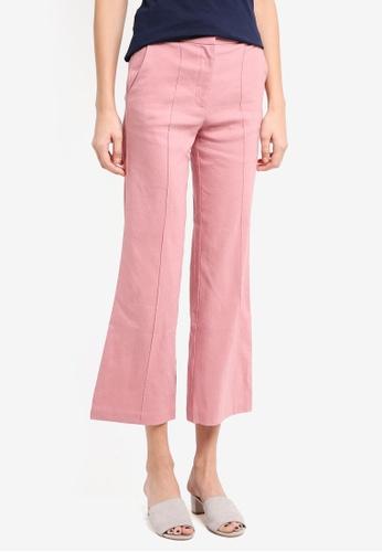 Mango pink Straight Linen-Blend Trousers 1B629AA73F0714GS_1