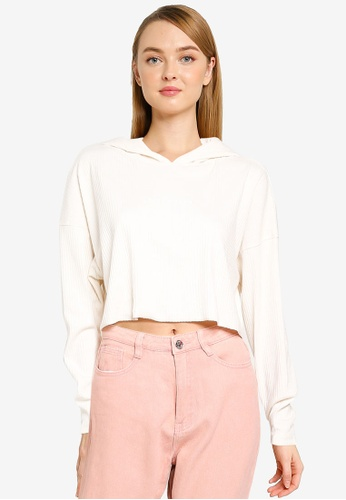 MISSGUIDED white Casual Cropped Hoodie 7305BAA2110285GS_1