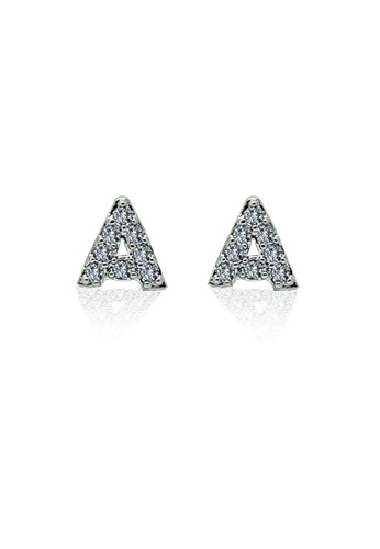 Fur Nyce silver Alphabet Stud Earrings FU779AC69VLEMY_1