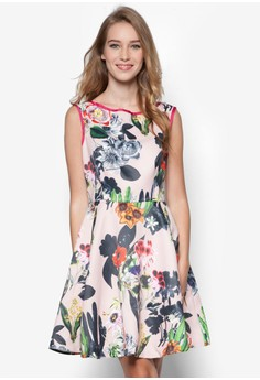 Floral Printed V-Back Dress