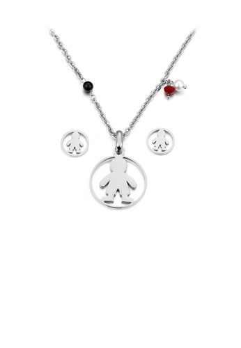 Glamorousky silver Fashion Simple Boy Geometric Round 316L Stainless Steel Necklace and Stud Earring Set 1EFF5ACAE99162GS_1