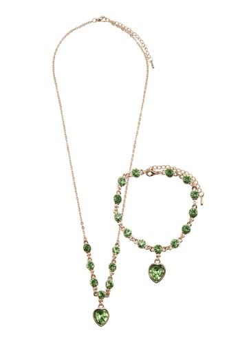 esprit 香港Enjoy 水鑽心形吊墜首飾組合, 飾品配件, 項鍊