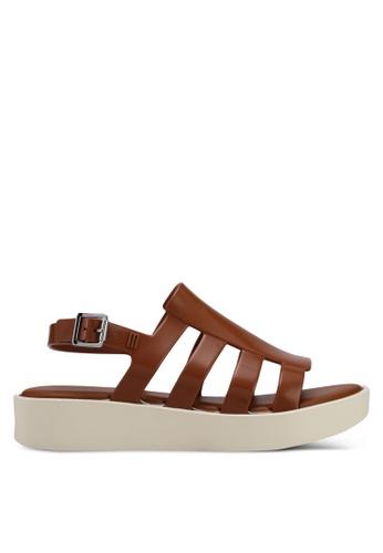 Melissa 褐色 造型繞帶厚底涼鞋 ME121SH0STJTMY_1