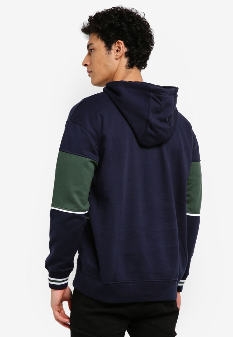 Man Hooded Sweatshirt Contrasting Panels MANGO Navy wBAYIZqx