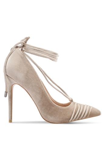 Public Desire beige Media Lace Up Ankle Detail Court Shoes PU378SH0SIQ5MY_1