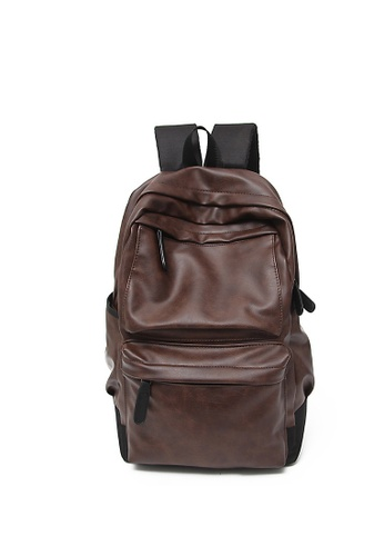 Lara 褐色 男士韓系大容量商務筆記本電腦背包 - 棕色 38F9FACBA82FB6GS_1