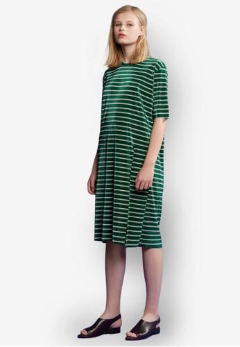 條紋五分esprit hk store袖連身裙, 服飾, 印花時代