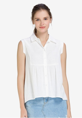 Hopeshow 白色 Sleeveless Button Blouse D7060AA6E0785CGS_1
