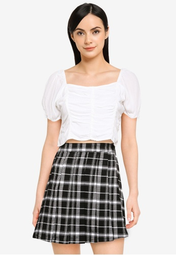 Hollister white Vertical Ruched Top AC0F5AABE82403GS_1