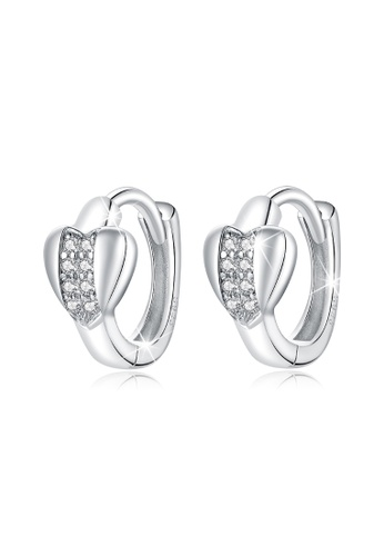 925 Signature silver 925 SIGNATURE Solid 925 Sterling Silver Cubic Zirconia Middle Paved Heart Shaped Hoop Earrings F41C0AC2D71CBEGS_1