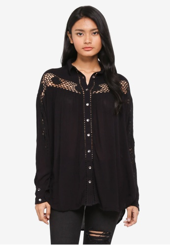 Free People black Katie Bird Buttondown Top 54AFDAA4196C39GS_1