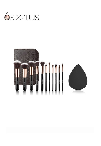 SIXPLUS black and brown and gold SIXPLUS 11Pcs Royal Golden Makeup Brush Set and 1pcs Black Multifunctional Makeup Sponge 42F44BEFD0EABFGS_1