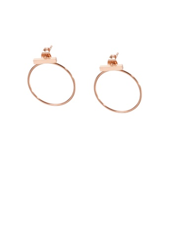 Glamorousky silver Fashion Simple Plated Rose Gold Geometric Round 316L Stainless Steel Earrings C9AD5AC9BC0F40GS_1