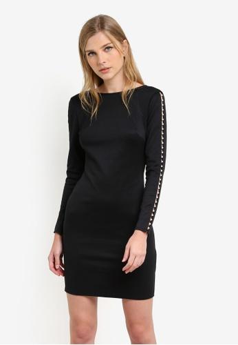 Dorothy Perkins black Pearl Sleeve Bodycon Dress DO816AA0S2J5MY_1