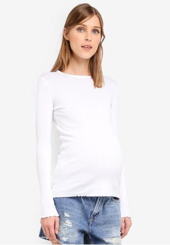 TOPSHOP white Maternity Long Sleeve Lettuce Hem T-Shirt TO412AA0SRSZMY_1