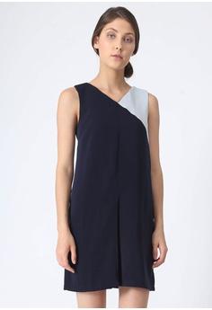 0bfe493e63b67f SALIENT LABEL blue and multi and navy Vea Contrast Colour Panel Dress -  Poseidon F9785AAEE69242GS 1