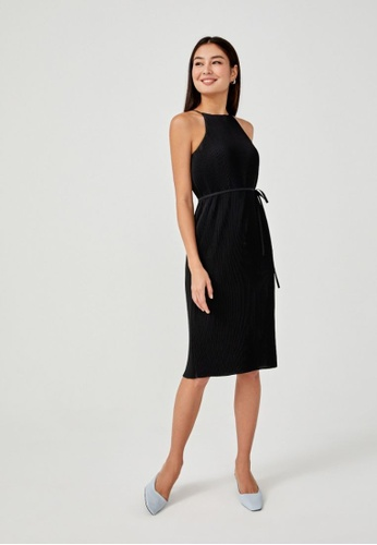 Love, Bonito black Sitara Micro Pleat Halter Neck Midi Dress B58EDAAADF70D1GS_1