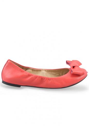 Shu Talk 橘色 羊軟皮蝴蝶結圓頭芭蕾平底鞋 SH544SH099U6TW_1