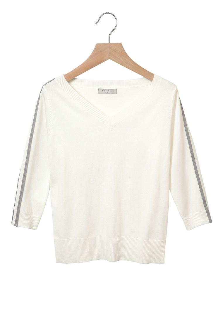 V Sleeves Kodz Top Neck White Striped vF7vqw4Z