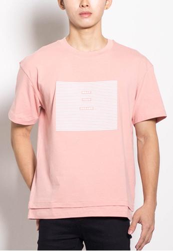 SUB pink Men Oversized Fashion Tee 30000AA70B3762GS_1