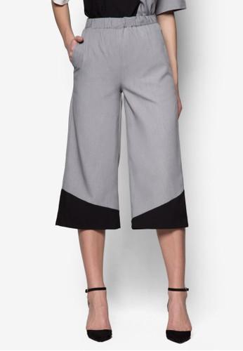 撞色寬管七分zalora 包包 ptt褲, 服飾, 直腳褲