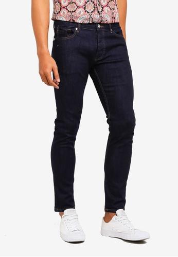 Topman 黑色 Indigo Stretch Skinny Jeans 57B64AA305488DGS_1