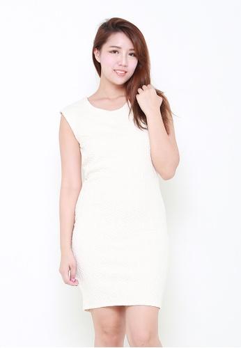 Leline Style white Phoebe Textured Dress LE802AA26JZXSG_1