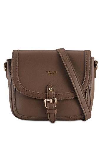 Unisa brown Faux Leather Sling Bag With Flap Over 8F4D0AC64E253BGS_1