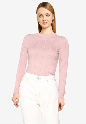 Mango pink Ribbed T-Shirt 8C802AA6BBBFBEGS_1