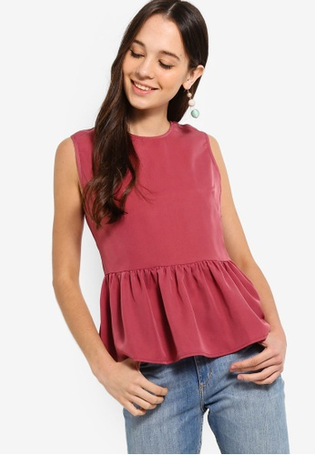 Something Borrowed pink Peplum Top A54B1AA4A99028GS_1