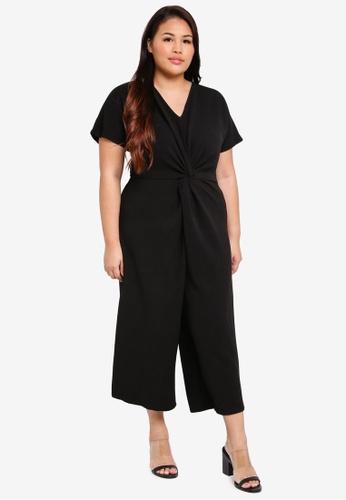 Dorothy Perkins black Plus Size Knot Front Jumpsuit 119B0AACF90BA2GS_1