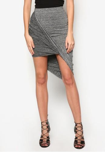不對稱zalora 衣服評價褶藝貼身短裙, 服飾, 裙子