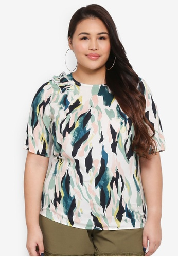 Junarose green and multi Plus Size Kirpa Half Sleeve Blouse D4F55AAFF6D491GS_1