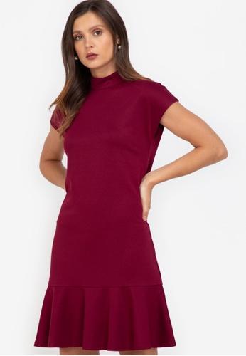 ZALORA WORK purple Mock Neck Fluted Hem Dress C6D89AAB8B342EGS_1
