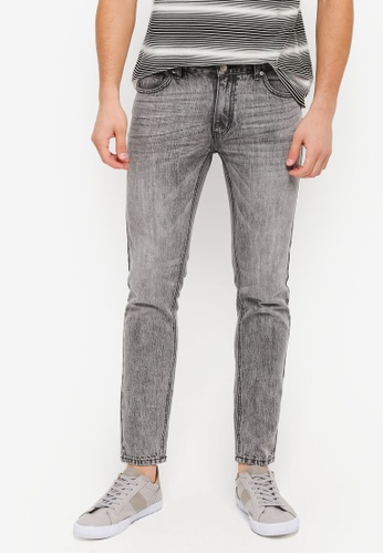 ZALORA grey Slim Fit Stonewashed Denim Jeans 34754AACA3D7ACGS_1