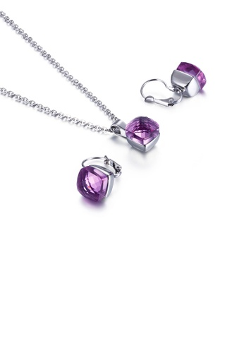 Glamorousky purple Fashion Simple Geometric Square 316L Stainless Steel Necklace and Earring Set with Purple Cubic Zirconia DBEDCAC884DF15GS_1