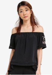 Something Borrowed black Embroidered Off Shoulder Top 3614CAAE451FC9GS_1