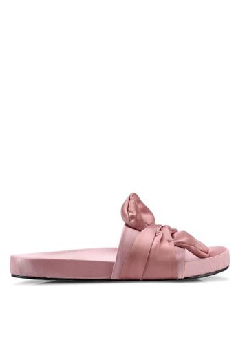 NA-KD 粉紅色 Knot 綢緞拖鞋 06F5DSH65744C6GS_1