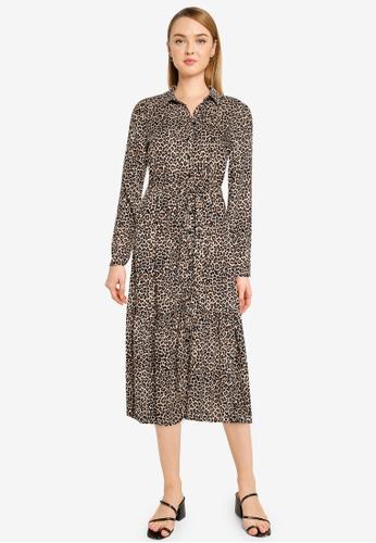 Dorothy Perkins brown Leopard Print Tiered Skirt Shirt Dress With Belt Waist 9691BAA267C434GS_1
