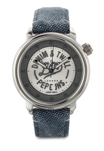 R2351117502 Sally 文字印花丹寧圓錶esprit台灣門市, 錶類, 飾品配件