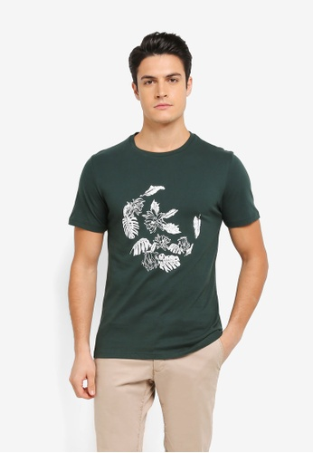 ZALORA green Printed Floral Ring Tee 0D3AAAA7CE6B45GS_1