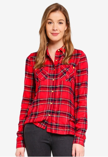 Superdry red Aria Sparkle Check Shirt C7809AA1310822GS_1