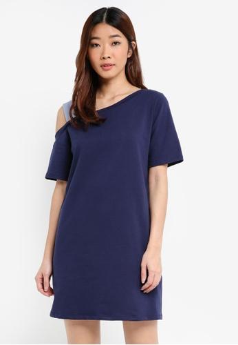 Something Borrowed navy Organza Strap Asymmetric Tee Dress 0EA07AAFBD4AFDGS_1